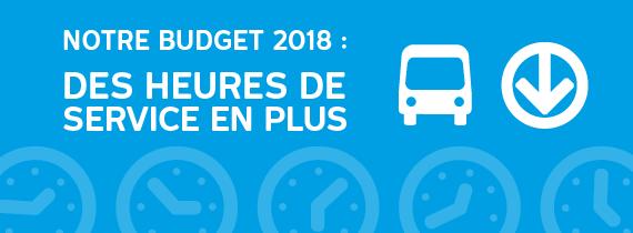 Notre budget 2018 : des heures de service en plus